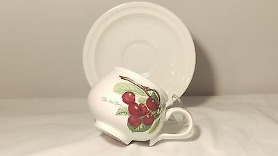 Portmeirion Pomona Romantic Shape Cup and Saucer Late Duke Cherry Design