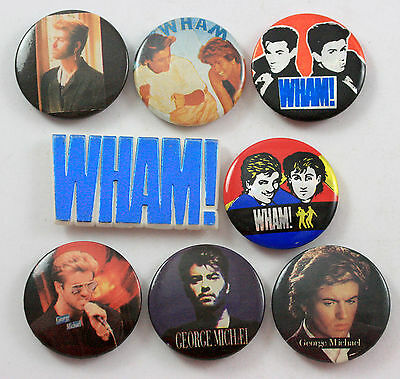 WHAM AND GEORGE MICHAEL Badges 8 x Vintage Wham Pin Badges * Andrew and George *