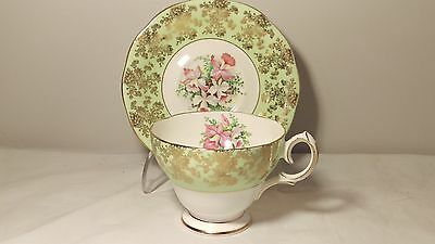 Queen Anne Green and Gold with Pink and Green Florals Cup and Saucer Set