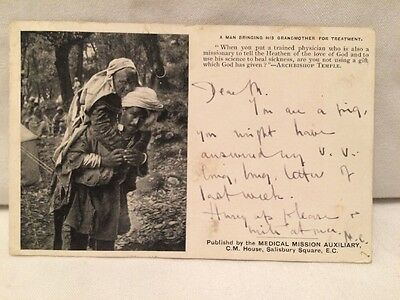 Vintage 1904 Medical Mission Auxiliary Postcard India 'A Man Brings His Mother'