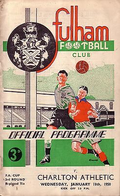 FULHAM v CHARLTON 1949/50 FA CUP 3RD ROUND REPLAY