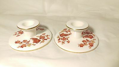 "Pair of Wedgwood Golden Cockerel Short 1 1/2"" Tall Candlestick Candle Holders"