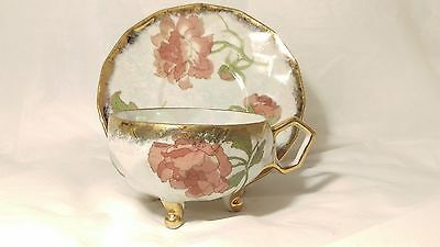 Handpainted Shafford Japan Tri Footed Luster Cup and Saucer Set