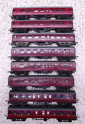 Job lot of 8 Tri-ang TT gauge (3mm scale) Maroon Main Line Coaches (all unboxed)