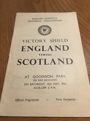 England v Scotland Schools Victory Shield 1955 Match Day Programme