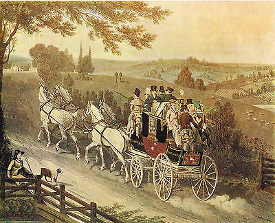 Stage Coach by Dubourg after James Pollard Antique 1908 Print