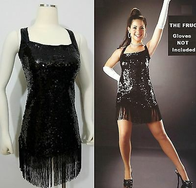 The Frug Dance Costume Black Solid Sequin Flapper Dress/Briefs Chicago Clearance