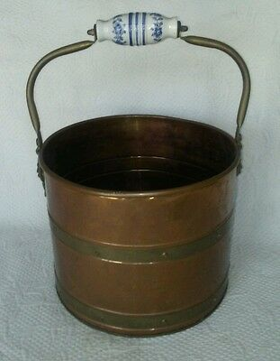 Vtg Rivet Copper Brass Lion Head Coal Fireplace Ash Scuttle Bucket Delft Handles