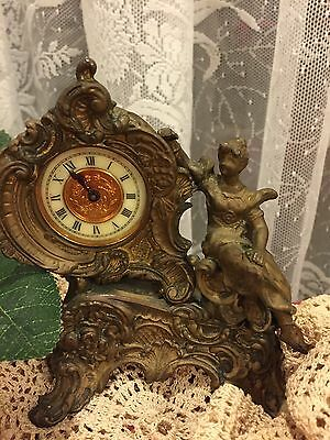 Antique French Victorian Petite Clock Lady Figurine 1890's Dress Wind Up Works