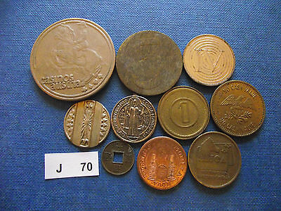 Lot Of 10 Different Tokens. J70