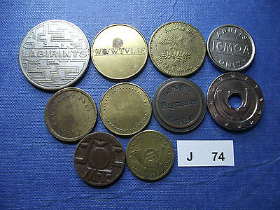 Lot Of 10 Different Tokens. J74