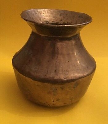 Early Antique Hand Made Brass Urn Vase Spittoon ? Marked D.A