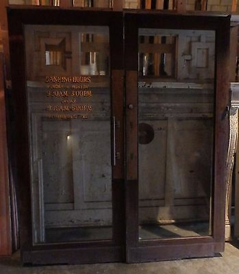 Pair Antique Mahogany Plate Glass Bank Store Front Restaurant Entry Doors 12-17E