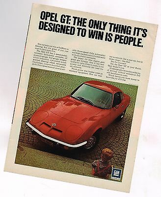 1971 OPEL GT Original Ad / Advertisement in Red