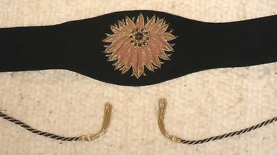 Vintage Black Velvet Belt Gold Wire embroidery with amethyst bead- 60's