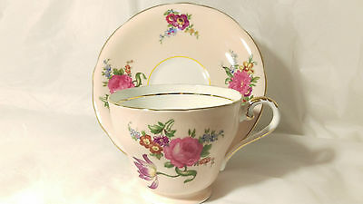 Aynsley Salmon Pink With Bright Blue Purple Coloured Flowers Cup & Saucer Set