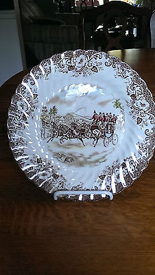 """RARE Johnson Brothers Coaching Scenes Brown - Multicolor 8 3/4"""" Luncheon Plate"""