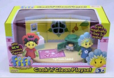 *NEW BOXED* Fifi and The Flowertots Cook and Clean Playset. Cake magically rises