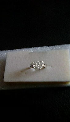 925 silvertone double heart band ring size P 1/2