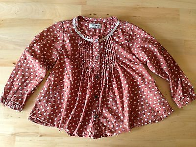 Baby Girl Next Long Sleeve Blouse Top Age 12-18 Months Brown Tan White Spots