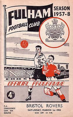 FULHAM v BRISTOL ROVERS 1957/58 FA CUP 6TH ROUND