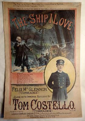 Victorian Sheet Music Ship Sailing Tom Costello Old Illustrated Cover