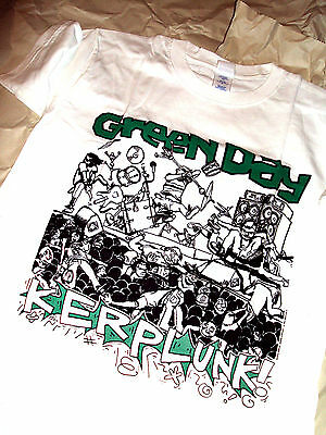 Green Day - Kerplunk! White T-Shirt Small - Lookout Records - Rare Retro Vintage