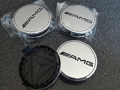 4X Logo mercedes chrome caps Cache moyeu centre roue 75mm jante badge AMG