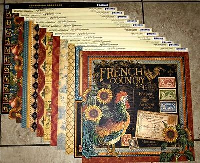 Graphic 45 French Country 12 x 12 Papers 11 Sheets  PLUS