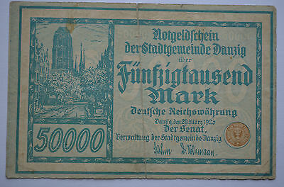 Poland - Danzig -  50000 Mark - 20 Marz 1923 - Green - 5 Numbers - Orginal Note