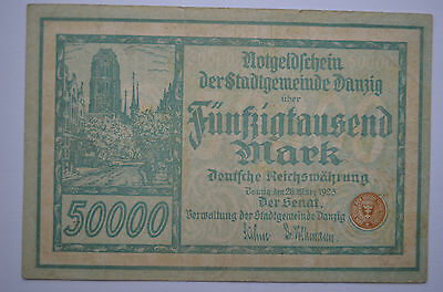 Poland - Danzig -  50000 Mark - 20 Marz 1923 - Green - 6 Numbers - Orginal Note