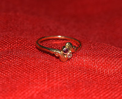 """Lovely 18ct Diamond & Ruby Ring Size """"O 1/2"""""""