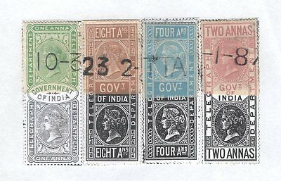 INDIA; Revenues  Q Victoria Telegraph  4 x Fu Nicely Mounted