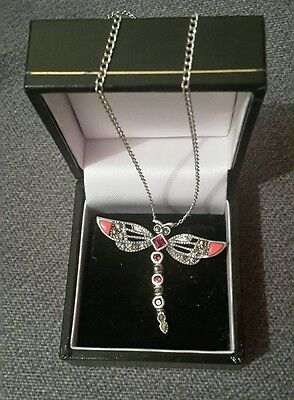 Vintage 925 Silver Dragonfly Necklace Pendant & Chain with Orange Enamel Wings