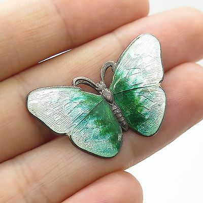 Vtg 925 Sterling Silver Enamel Butterfly Pin Brooch