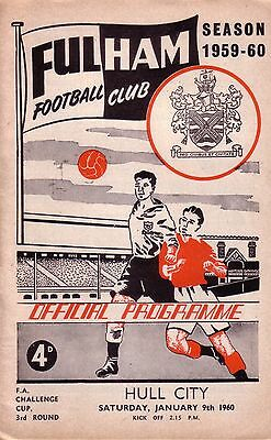 FULHAM v HULL CITY 1959/60 FA CUP 3RD ROUND