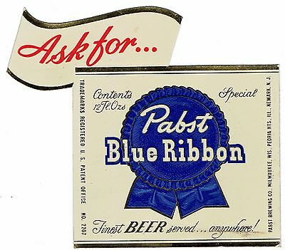 1950s Pabst Blue Ribbon Beer Metallic Stik On Sign Milprint Milwaukee Very Good
