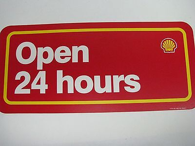 Shell Gasoline Pump Advertising Sign Open 24 Hours Oil Gas Station