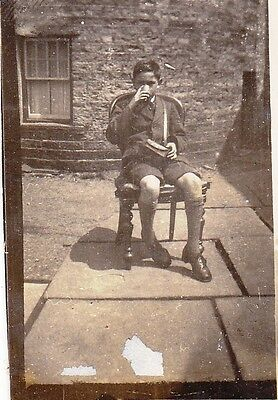 Vintage Old Photo Boy Jacket Shorts Socks Drinking On Chair In Garden 1920's