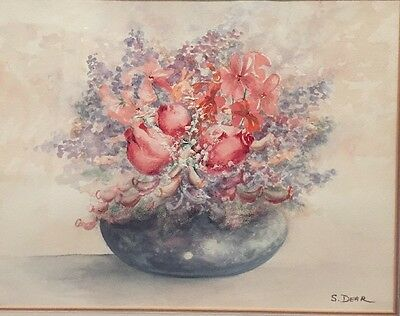 VINTAGE ORIGINAL SIGNED FLORAL WATERCOLOUR PAINTING -by S Dear