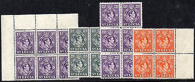 St LUCIA   KGVI  FOUR VALUES in *** M N H *** MULTIPLES