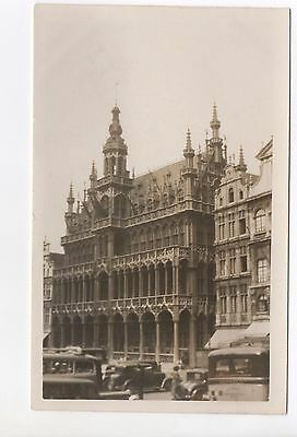 Real Photo Postcard Kings House, Grand Place, Brussels, Belgium Old Cars