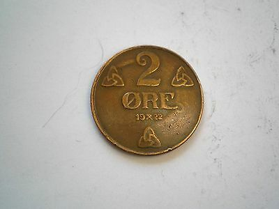 Early - 2 Ore Coin From Norway Dated 1922-Nice