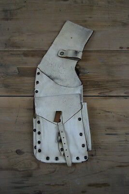 Vintage Thick Real Leather White Arrow Holder Case Sheath