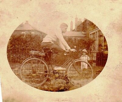 Vintage Old Photo Teenage Young Man On A Bike In Garden With Child Hat 1920's