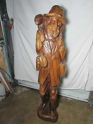 "Vintage Large 44"" South American Folk Art Carved Wood Statue~Farm Peasant & Lamb"