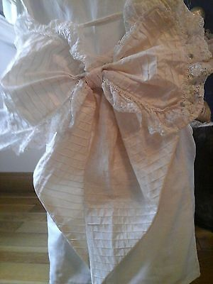 Vintage French Bridal Wedding Dress Bow~Tambour Lace, Satin & pearly beads ~HUGE