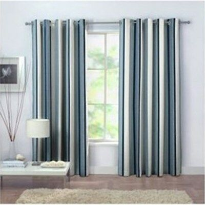 "100% Cotton Eyelet Curtains 168x183cm 66x72"" - TEAL BLUE Stripes"