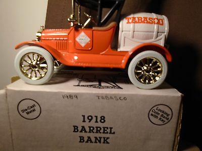 Tabasco 1989 1918 Ford Ertl Runabout  Diecast  Bank Truck  #9078