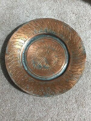 Vintage Middle Eastern Copper Plate Marked  Syria